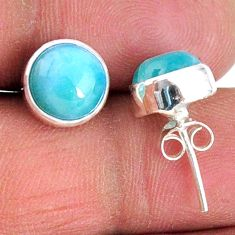 5.79cts natural blue larimar 925 sterling silver stud earrings jewelry r56477