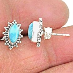 4.26cts natural blue larimar 925 sterling silver handmade stud earrings t3822