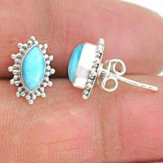 4.26cts natural blue larimar 925 sterling silver handmade stud earrings t3825