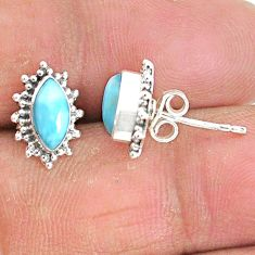 4.29cts natural blue larimar 925 sterling silver handmade stud earrings t3835