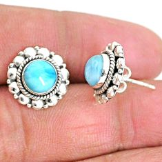 2.70cts natural blue larimar 925 sterling silver handmade stud earrings t3862