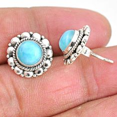 2.81cts natural blue larimar 925 sterling silver handmade stud earrings t3866
