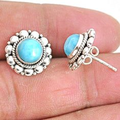 2.82cts natural blue larimar 925 sterling silver handmade stud earrings t3875
