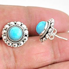 2.82cts natural blue larimar 925 sterling silver handmade stud earrings t3877