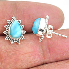 4.30cts natural blue larimar 925 sterling silver handmade stud earrings t3886