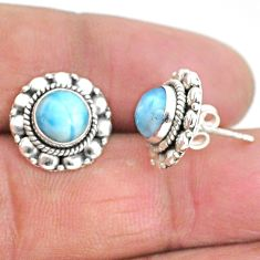 2.81cts natural blue larimar 925 sterling silver handmade stud earrings t3889