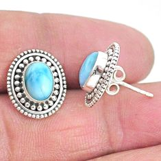 4.03cts natural blue larimar 925 sterling silver handmade stud earrings t3905