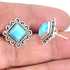 5.38cts natural blue larimar 925 sterling silver handmade stud earrings t3921