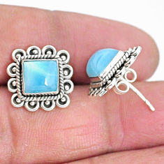 5.63cts natural blue larimar 925 sterling silver handmade stud earrings t3928