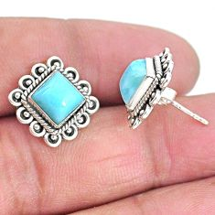 5.63cts natural blue larimar 925 sterling silver handmade stud earrings t3932