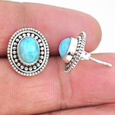 4.08cts natural blue larimar 925 sterling silver handmade stud earrings t4007