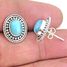 4.08cts natural blue larimar 925 sterling silver handmade stud earrings t4008