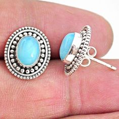 4.08cts natural blue larimar 925 sterling silver handmade stud earrings t4012