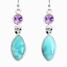 14.08cts natural blue larimar amethyst 925 silver dangle earrings r19776
