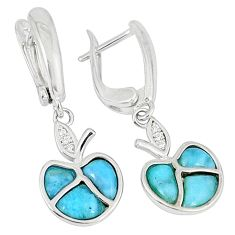 Natural blue larimar fancy white topaz 925 silver dangle apple earrings c22367