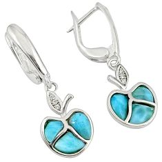 Natural blue larimar topaz 925 sterling silver dangle apple earrings c15503