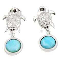Natural blue larimar topaz 925 sterling silver turtle earrings jewelry c15502