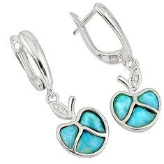 Natural blue larimar topaz 925 sterling silver dangle apple earrings c15501