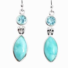 13.69cts natural blue larimar topaz 925 sterling silver dangle earrings r19761
