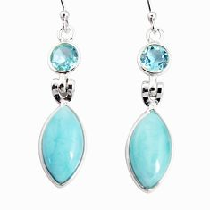 13.52cts natural blue larimar topaz 925 sterling silver dangle earrings r19766