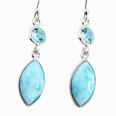 13.13cts natural blue larimar topaz 925 sterling silver dangle earrings r19768
