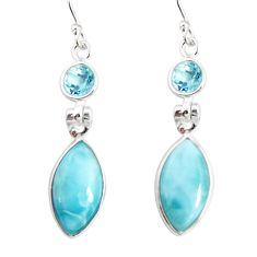 13.64cts natural blue larimar topaz 925 sterling silver dangle earrings r19771