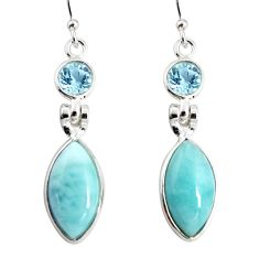 14.08cts natural blue larimar topaz 925 sterling silver dangle earrings r19774