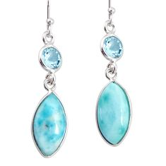 11.93cts natural blue larimar topaz 925 sterling silver dangle earrings r20913
