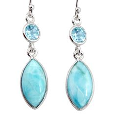 11.42cts natural blue larimar topaz 925 sterling silver dangle earrings r20915