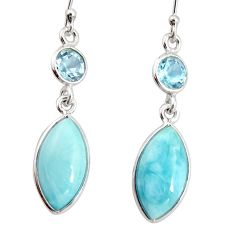 11.93cts natural blue larimar topaz 925 sterling silver dangle earrings r20917
