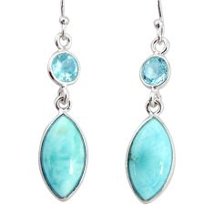 11.26cts natural blue larimar topaz 925 sterling silver dangle earrings r20920