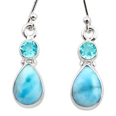 7.66cts natural blue larimar topaz 925 sterling silver dangle earrings r51741