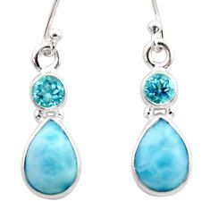 8.12cts natural blue larimar topaz 925 sterling silver dangle earrings r51754