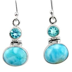 9.98cts natural blue larimar topaz 925 sterling silver dangle earrings r52143
