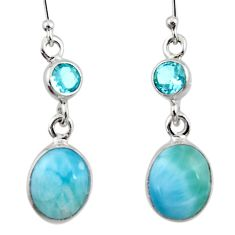 9.61cts natural blue larimar topaz 925 sterling silver dangle earrings r52145