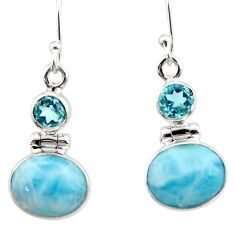 10.02cts natural blue larimar topaz 925 sterling silver dangle earrings r52157