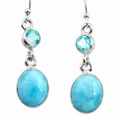 10.02cts natural blue larimar topaz 925 sterling silver dangle earrings r52161