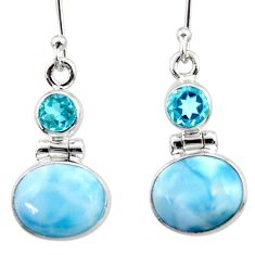 10.02cts natural blue larimar topaz 925 sterling silver dangle earrings r52169