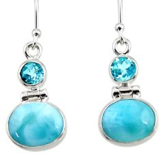 9.16cts natural blue larimar topaz 925 sterling silver dangle earrings r52174