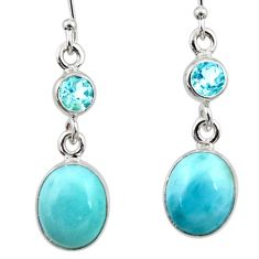 9.61cts natural blue larimar topaz 925 sterling silver dangle earrings r52178