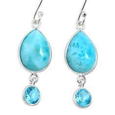 12.54cts natural blue larimar topaz 925 sterling silver dangle earrings r63504