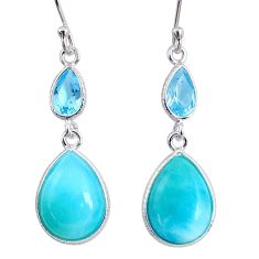 11.84cts natural blue larimar topaz 925 sterling silver dangle earrings r63505