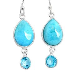 11.28cts natural blue larimar topaz 925 sterling silver dangle earrings r63508