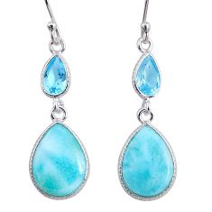 10.14cts natural blue larimar topaz 925 sterling silver dangle earrings r63651