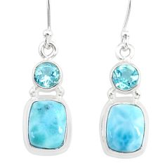9.56cts natural blue larimar topaz 925 sterling silver dangle earrings r83785