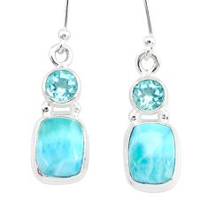 9.23cts natural blue larimar topaz 925 sterling silver dangle earrings r83786
