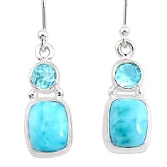 9.18cts natural blue larimar topaz 925 sterling silver dangle earrings r83793
