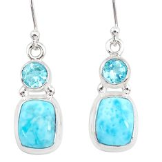 9.46cts natural blue larimar topaz 925 sterling silver dangle earrings r83800
