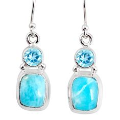8.80cts natural blue larimar topaz 925 sterling silver dangle earrings r83862
