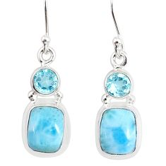 9.16cts natural blue larimar topaz 925 sterling silver dangle earrings r83863